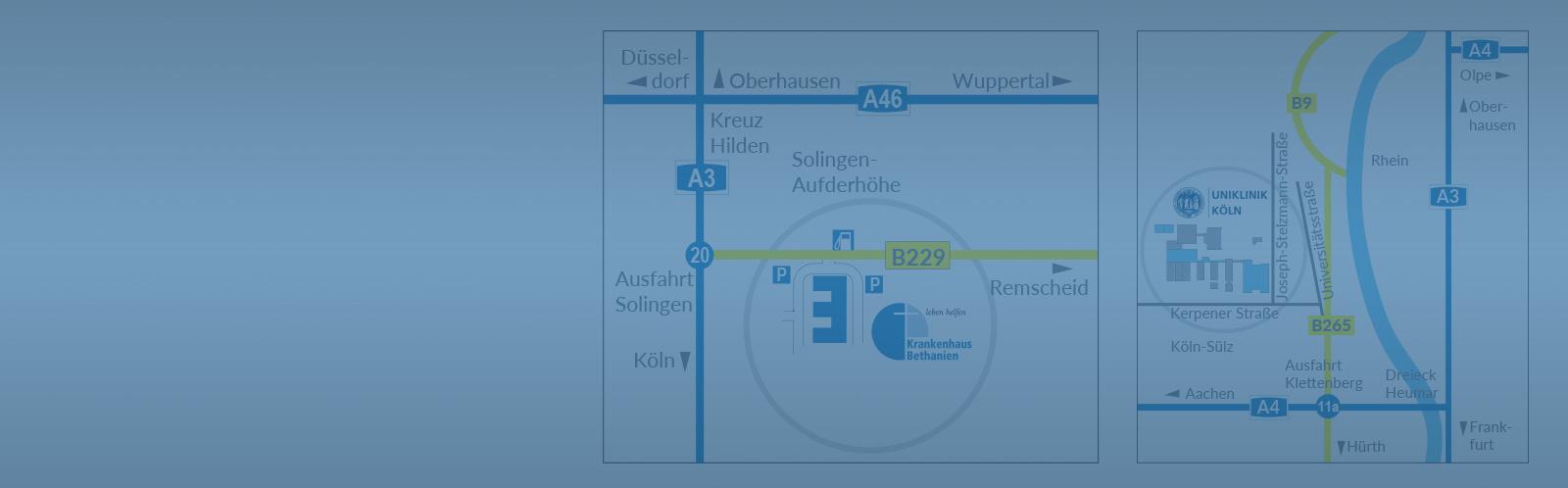 Standort Karten Köln und Solingen